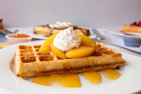 Waffles and peaches